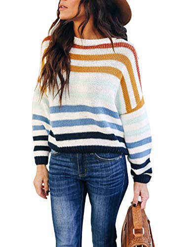 cordat Women Sweaters Long Sleeve Crew Neck Color Block Striped Oversized Casual Knitted Pullover Tops Blue (The Client List Based On A True Story)