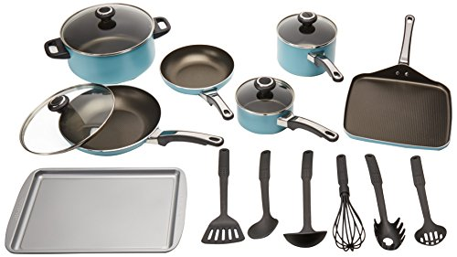 Farberware High Performance Nonstick Aluminum 17-Piece Cookware Set, Aqua