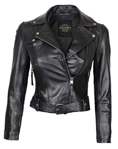 Black Jackets for Women - Aysmmetrical Short Body Moto Leather Jacket Women | Angela, S