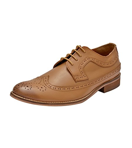 d66d85a0a6a34 Hirel's Men Tan Leather Brogue Shoes: Buy Online at Low Prices in ...
