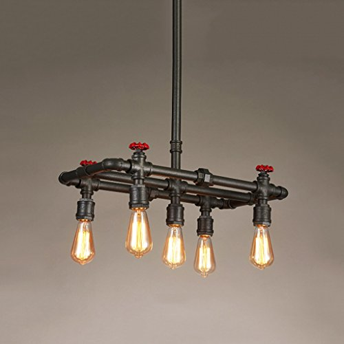 Rishx Retro Creative Water Pipe Chandelier Lantern Steampunk Loft Wrought Iron Ceiling Pendant Lamp Industrial Cafe Restaurant Bar Pub Suspension Droplight E27/E26 (Size : Five - Pendant 24 Light Channel