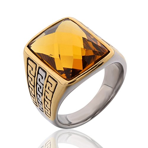 MASOP Stainless Steel Fashion Yellow Topaz Color Rhinestone Crystal Ring for Men and Women Size 11 ()