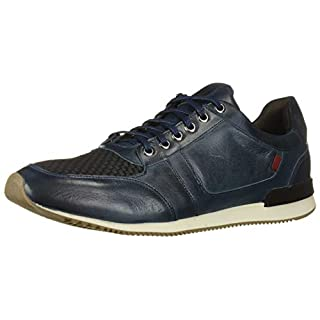 MARC JOSEPH NEW YORK Men's Leather Made in Brazil Luxury Fashion Trainer Sneaker, Navy Nappa Soft, 9 M US