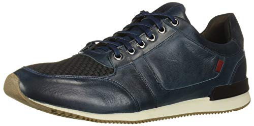 MARC JOSEPH NEW YORK Men's Leather Made in Brazil Luxury Fashion Trainer Sneaker, Navy Nappa Soft, 7 M US