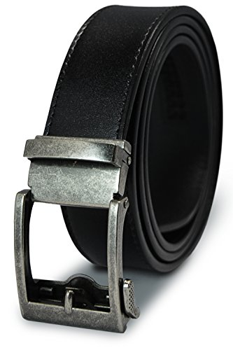 Classic Men's Leather Ratchet Click Belt - Antique Silver Buckle w/ Matte Finish Black Leather Ratchet Belt - Trim to Fit (Up to 35'' - Classic Silver Belt