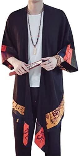 [イダク] メンズ 七分袖 ロングコート 民族風 和風 羽織 薄手 カジュアル 個性 原宿風 大きいサイズ