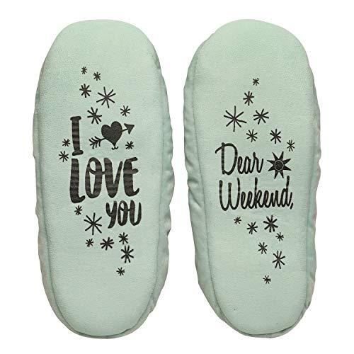 Dreams Slippers (Faceplant Dreams Womens Dear Weekend, I Love You Slippers Fleece Lined Booties, Large 9  10 , Bue )