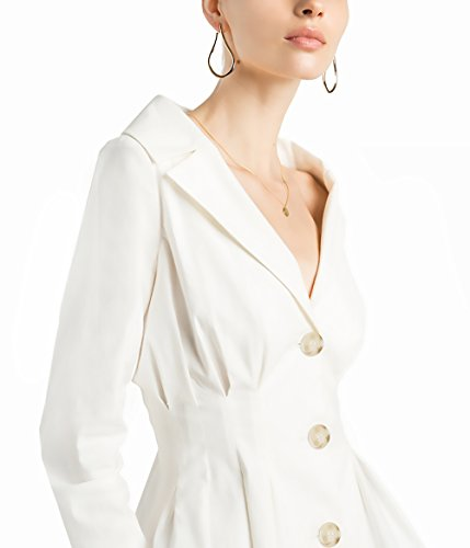 Ejecutiva Otoño Coat Mujer Blanca Blanco Chaquetas Jacket Slim Trajes De Casual Con Oficina Blazer Outerwear Solapa Basic Fit Negocios Invierno Manga Botones Elegante Larga pqCnI8BC4