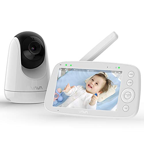 Baby Monitor, VAVA 720P 5 HD Display Video Baby Monitor with Camera and Audio, IPS Screen, 480ft Range, 4500 mAh Battery, Two-Way Audio, One-Click Zoom, Night Vision and Thermal Monitor