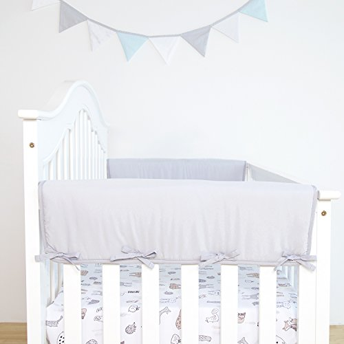 TILLYOU 2-Pack Padded Baby Crib Rail Cover Protector Safe Teething Guard Wrap for Thick Side Crib Rails(Measuring Up to 18'' Around), 100% Silky Soft Microfiber Polyester, Reversible, Pale Gray/White by TILLYOU