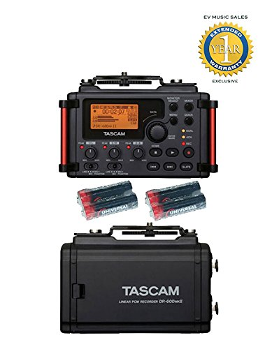 Tascam DR-60DmkII 4-Channel Portable Recorder with 4 Free Universal Electronics AA Batteries and 1 Year Free Extended Warranty (4 Channel Field Mixer compare prices)
