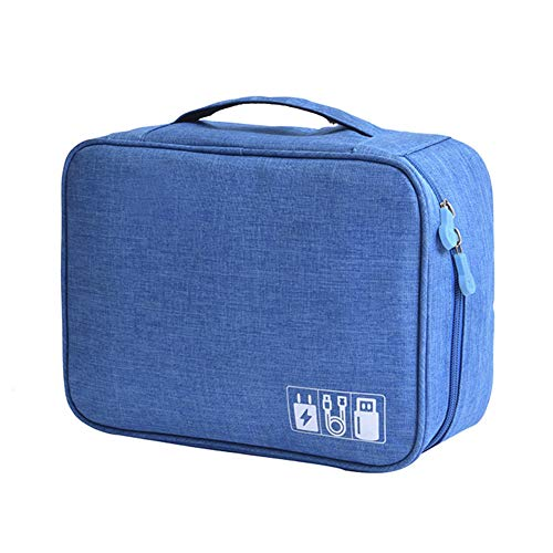 Multi-functional Electronic Accessories Case Travel Digital Cable Charger Portable Zipper Closure Storage Bag Sky Blue zsjhtc