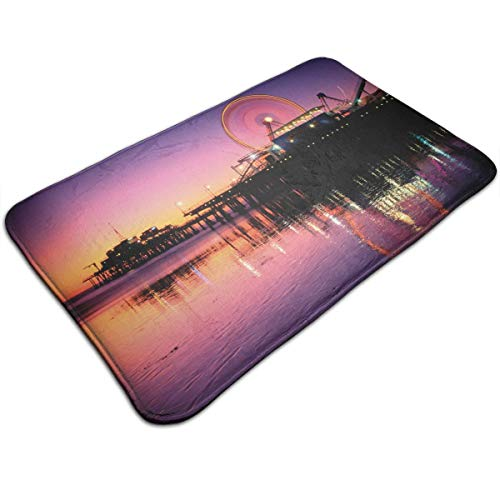Welcome Doormat 80x50CM Entrance Floor Rug Ferris Wheel Santa Monica California Non-Slip Flannel Indoor Mat for Bedroom Living Room Home Decorative -