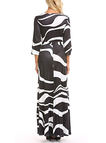 Black 4 Neck V Dress Sleeve Digital White Printed with Women's Loose Maxi Floral S 06 Party Belt Locryz 3XL 3 Long xqHfIC