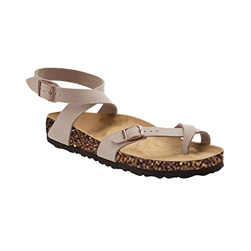 Syktkmx Womens Thong Flat Strappy Slip on Ankle Strap Cork Flip Flops Gladiator (Cork Strappy Sandals)