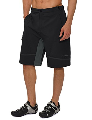 Baleaf Men's Mountain Bike MTB Shorts Loose-fit Quick Dry Lightweight Water-Resistant Cycling Hiking Shorts UPF 50+ Black Size XXL
