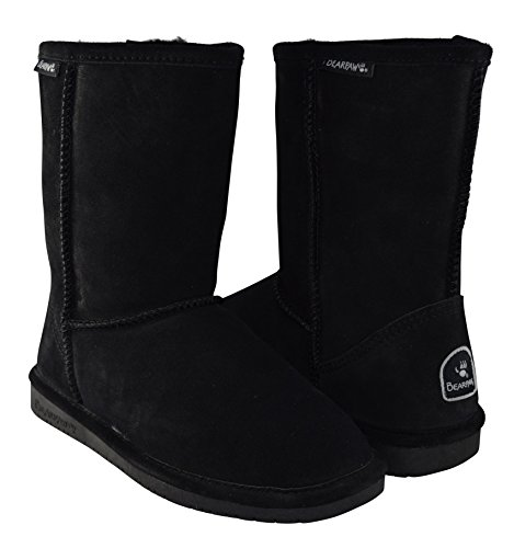 BEARPAW Women's Emma Short Shearling Boots 608-W Black (10) (Ultimate Short Boots)