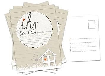 15 Einladungskarten Für Deine Party   Ihr Bei Mir   Recyclingpapier  Postkarten Set, Einladungen In