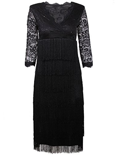 Vijiv Women's Lace Sequin Fringe Flapper Cocktail Prom Formal Eve Party Dress, Black, XX-Large