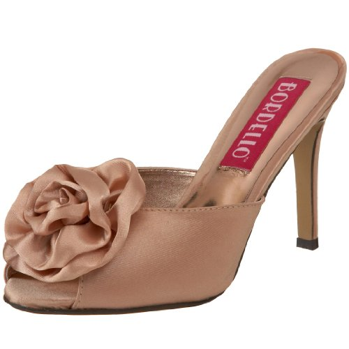 Bordello by Pleaser Women's Rosa-01 Sandal,Champagne Satin,9 M US
