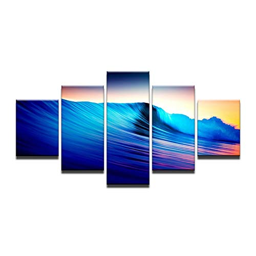 40x60 40x80 40x100cm No Frame HD Print Seascape Canvas Wall Art Painting colorful Sea Wave Sunset Landscape Home Decor Wall Pictures Living Room Decor 5 Panel