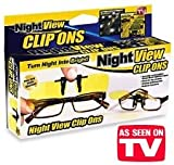 Night View Night Vision Clip On Glasses, Yellow, One Size