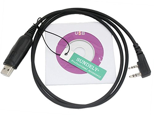SUNDELY USB Programming Cord Cat Cable for Kenwood 2-pin Radio TK-2000 TK-3000 + Software KPG-137D