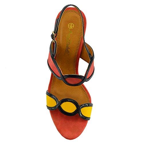 Kick Footwear Ladies Retro Style Block Heeled Ankle Strap Sandals Orange b3sXy