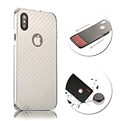 For iPhone X 10 Case, Vandot Luxury Carbon Fiber Line Texture Hard PC Ultra Slim Thin Back Case Shock Absorbing Drop Protection Bumper Protective Case Cover Lightweight Anti-Slip Case-Silver