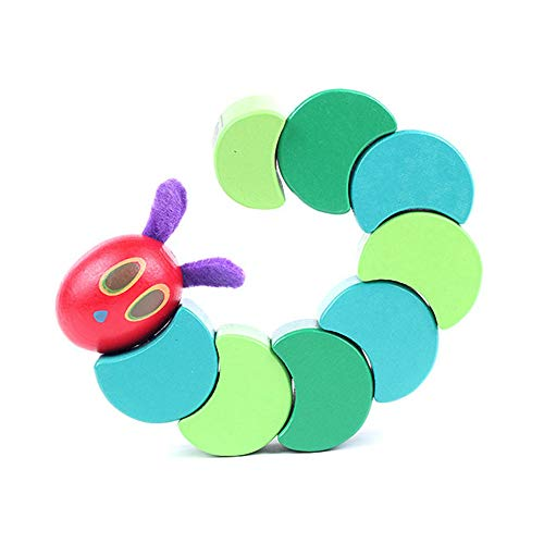Novelty Kids Gift Pair of 2 Multi Color Wood Caterpillars Twistable Bendable Toy