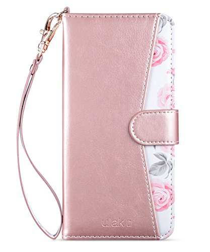 ULAK Galaxy S8 Case, Galaxy S8 Wallet Case, PU Leather Wallet Case with Kickstand Card Holder ID Slot and Hand Strap Protective Cover for Samsung Galaxy S8, Rose Gold (Will not Fit S8 Plus)