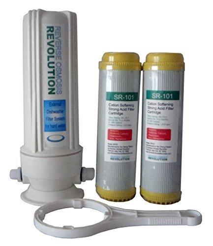 External Dishwasher Softener for hard water. Comes with 2 of 10''x2.5'' Resin Softener Cartridges. 3/8'' thread or 1/2'' thread connection by Reverse Osmosis Revolution