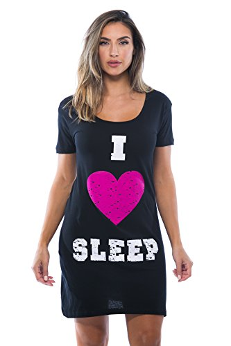 Just Love Sleep Dress for Women / Sleeping / Dorm Shirt / Nightshirt,Black - I Heart Sleep,Small ()