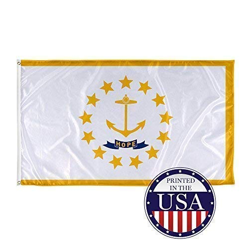 Vispronet - Rhode Island State Flag - 3ft x 5ft Knitted Polyester, State Flag Collection, Made in The USA (Flag Only)