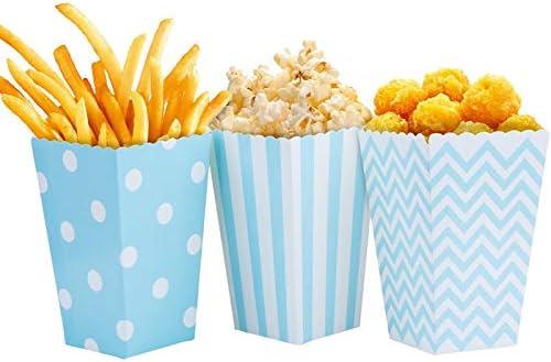 Dusenly 24pcs Cajas de Palomitas de maíz titulares contenedores de cartón contenedor de Dulces Bolsas de Papel de merienda para Cine Dessert Tables Tables Favores de la Boda (Azul): Amazon.es: Juguetes y