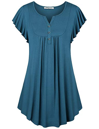 SeSe Code Short Sleeve Shirts for Women,Irregular Flutter T Shirt Tunics Button Details Stretchable Chic Leisure Style Tops Summer Travel Navy Blue Medium -