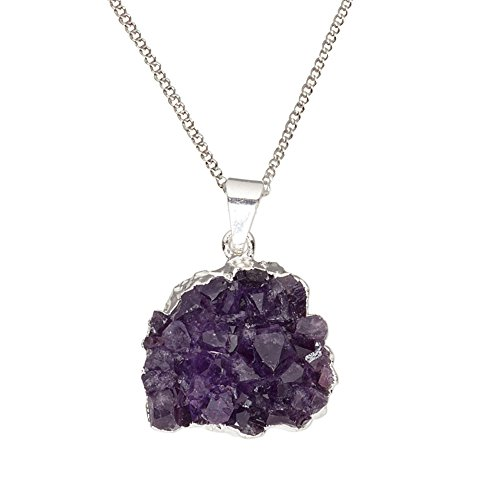 DragonWeave Natural Purple Amethyst Crystal Druzy Hand-cut Freeform Gemstone Silver Plated Pendant Necklace