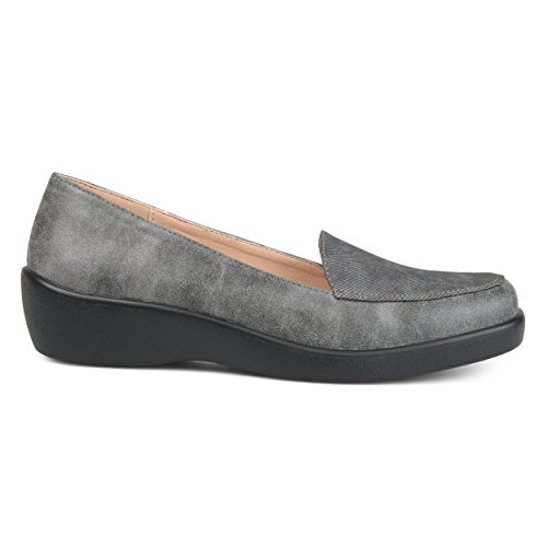 Brinley Co Womens Comfort Sole Faux Suede Square Toe Loafers Grey