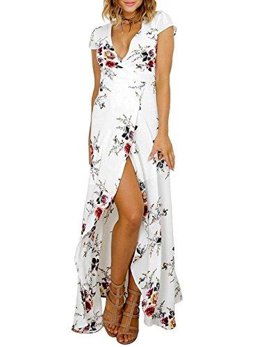 Walant Women's Boho Tie -waist Split Floral Print Flowy Long