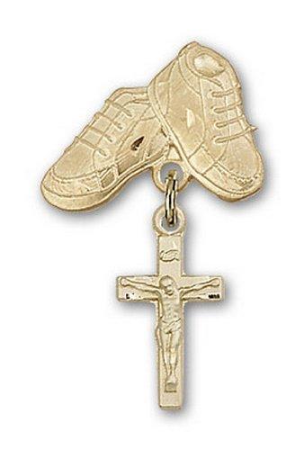 Icecarats Créatrice De Bijoux En Or Remplie De Charme Crucifix Bottes De Bébé Pin 1 1/8 X 5/8