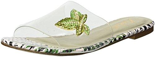 Nanette Lepore Women's Veronica Slide Sandal, Green Floral, 9 M (Lucite Slide)