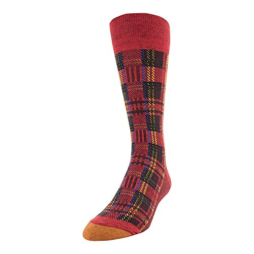 Gold Toe Men's Patterned Fashion Dress Crew Socks, 1 Pair, stewart plaid red, Shoe Size: 6-12.5