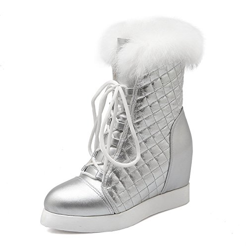 - 1TO9 Womens Heighten Inside Bandage Platform Silver Imitated Leather Boots - 7.5 B(M) US