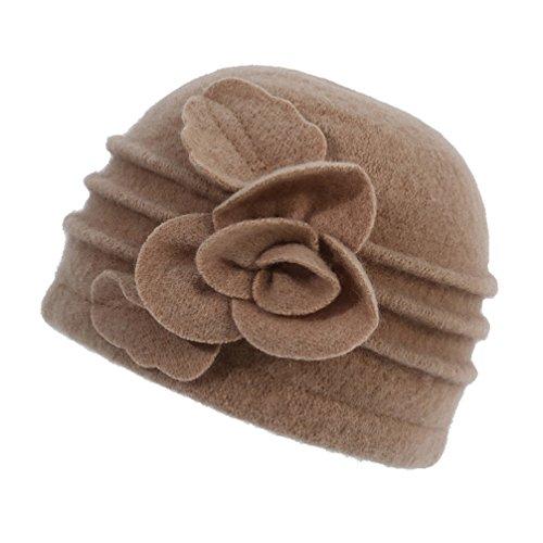 Dantiya Women's Winter Warm Wool Cloche Bucket Hat Slouch Wrinkled Beanie Cap with Flower; Khaki; One ()