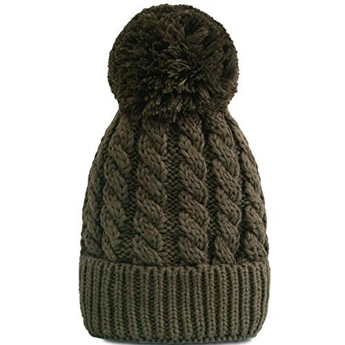 Women's Winter Beanie Warm Fleece Lining - Thick Slouchy Cable Knit Skull Hat Ski Cap(Green)