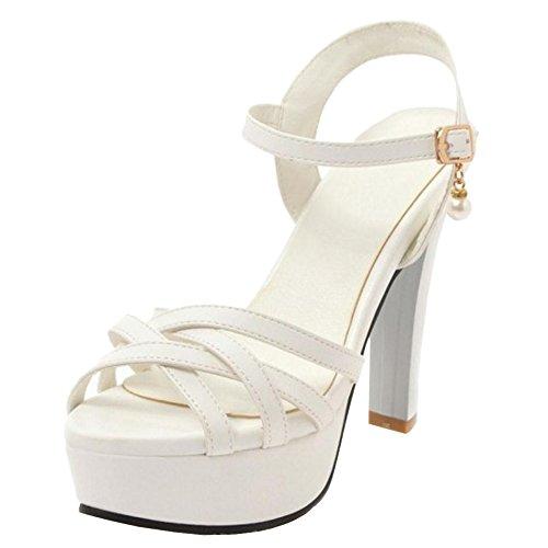 Sandales Femmes Croisee Sangle JOJONUNU White qRTpxw4