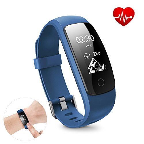 Fitness Tracker HR - DBPOWER Activity Tracker with Heart Rate Monitor - Built-in Charger IP67 Waterproof Smart Bracelet with Step Tracker Sleep Monitor Calorie Counter Pedometer Watch for Android and IOS
