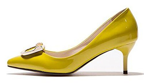 CHFSO Womens Stylish Solid Metal Decoration Pointed Toe Slip On Low Top Kitten Heel Pumps Yellow 9XGNGTRuH