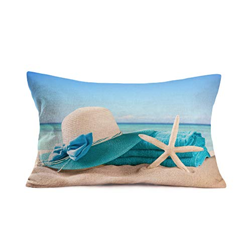 Royalours Summer Beach Pillow Covers Enjoy Summer Holiday Cotton Linen Home Office Decorative Throw Waist Pillow Case Starfish Cushion Cover Rectangle 12 X 20 Inches (ROL21) (Starfish Cushion)