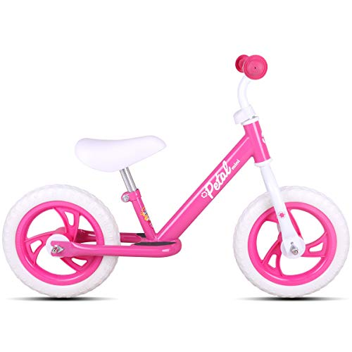 JOYSTAR 12 Inch Balance Bike for Girls 2 3 4 5 Years Old, Toddler Push Bike with Footboard & Handlebar Protect Pad, Child Glider Cycle, Kids Slider, Pink (Best Glider Bikes For Toddlers)